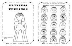 A Princess Feelings Workbook with 10 pages(19 half pages) of CBT activities to encourage self control over behaviors