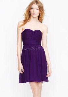 Graceful A-line Chiffon Zipper Back Short-Length Grape Bridesmaid Dress