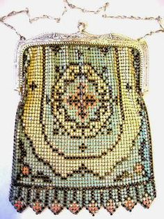 Vintage Enameled Mesh Purse Whiting & Davis Mesh Bags