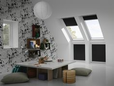There's a HUGE range of ideas to make the most of your PVC frame roof windows. All will create a stunning finish to your loft conversion. Attic Bedroom Designs, Attic Bedrooms, Pose Velux, Loft Design, House Design, Skylight Blinds, Skylights, Dormer Windows, Roof Window