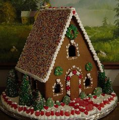 Gingerbread house - This looks simple, but it's not. It's surprisingly hard to get the pieces all just the right shape so that they fit together neatly! Love the minimal decoration on this one. Well done!