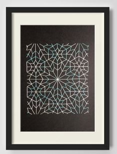 Geometric Decorative Art, Wall Decor, Embroidery on Paper, Islamic Pattern, Stars and Hexagons, Black Cardboard, Ancient Motif
