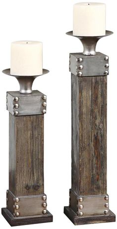 Set of 2 Uttermost Lican Wood and Metal Candle Holders   LampsPlus.com