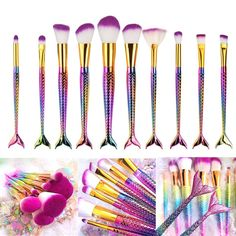Cosmetic Brush,YJM 10 Pcs Mermaid Makeup Brush Set Synthetic Kabuki Foundation Blending Blush Eyeliner Face Powder Brush Makeup Brush Kit Beauty Cosmetic Tools *** Learn more by visiting the image link. (This is an affiliate link) It Cosmetics Concealer, It Cosmetics Foundation, Concealer Brush, It Cosmetics Brushes, Eyeshadow Makeup, Eyeliner, Cosmetic Brushes, Foundation Brush, Lip Makeup
