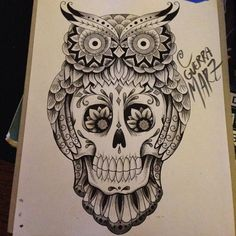 southwest owl & skull tattoos - Google Search LIKE THE FLOWERS IN THE EYES