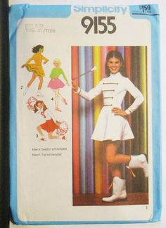 1970s Simplicity 9155 Young Junior/Teens' Cheerleader, Majorette, Skating & Ballet Costumes  Pattern Size 11/12 Uncut by SewYesterdayPatterns on Etsy