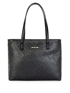 edd1bacd66 LOVE MOSCHINO EMBOSSED LOGO FAUX LEATHER TOTE BAG. #lovemoschino #bags  #leather #
