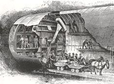 El Túnel de Saint Claire con 6,65 m de diámetro de excavación se construyó bajo el rio St. Clair para comunicar EEUU y CANADÁ en 1.890. Se puede observar el erector y las dovelas de revestimiento, similares a los que se emplean en la actualidad #túneles vía Twitter @vyepesp #ingeniería