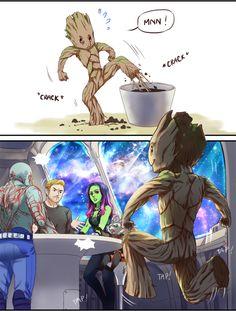 I'm back guys oh I mean I am Groot Marvel Jokes, Marvel Funny, Marvel Dc Comics, Marvel Avengers, Groot Comics, Gardians Of The Galaxy, Spideypool, Superfamily Avengers, Marvel Cinematic Universe