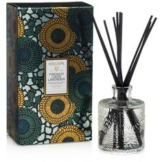 Voluspa Japonica Limited French Cade & Lavender Mini Reed Diffuser ($20) ❤ liked on Polyvore featuring home, home decor, home fragrance, blue, mini diffuser, miniature bottles, mini bottles, lavender diffuser and lavender reed diffuser