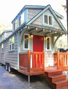 I'm so excited to share this x craftsman style bungalow tiny house on wheels by Molecule Tiny Homes. Anytime they build something new for their clients I'm thrilled because they always see. **add stairs to biggest loft, sink to bathroom and be perfect! Craftsman Style Bungalow, Craftsman Bungalows, Craftsman Cottage, Tiny House Plans, Tiny House On Wheels, Tiny House Living, Small Living, Tiny House Nation, Beach Cottage Style