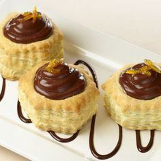 Light and flaky puff pastry shells are complemented by a unique combination of chocolate, orange and caramel to create a luscious and silky dessert. Comments