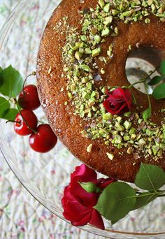 Rose of Persia Cake with Cherry and Rose Water Glaze