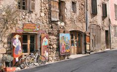 """Village street and """"santonnere"""" in Aiguines. This is the shop and atalier of a santon maker."""