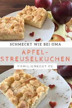 Apfelkuchen vom Blech mit Streuseln (einfaches Rezept) Apple pie from the tin with sprinkles like grandma's. This sheet cake is quick and easy to bake and tastes great for the whole family: www. Easy Smoothie Recipes, Easy Smoothies, Healthy Dessert Recipes, Health Desserts, Cake Recipes, Snack Recipes, Coconut Recipes, Cream Recipes, Apple Crisp Recipes