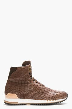 Alexander Mcqueen Brown Croc embossed Leather High top Sneakers