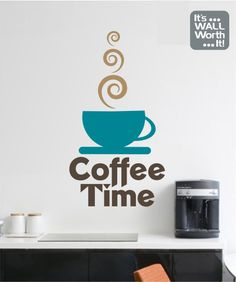 Coffee Cup Wall Decal By DecalsEnFolie On Etsy Kitchen - Custom vinyl wall decals coffee