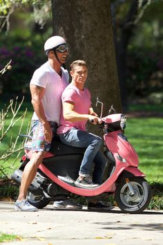 Zac Efron and Dwayne Johnson Ride a Scooter on 'Baywatch' Set