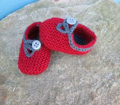 Baby Shoes Knit Loafers Dusty Red and Dk. Gray by bjsknits on Etsy, $8.50