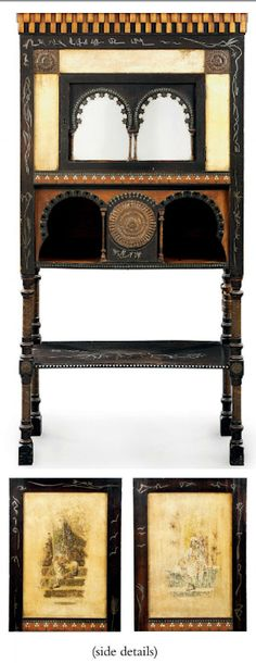 CARLO BUGATTI (1856-1940)  CABINET, circa 1902, polished and stained walnut, inlaid with copper, bone and pewter, vellum, mirrored glass, the sides painted with figural scenes, 58 in. (147.3 cm.) high; 30 in. (76.2 cm.) wide; 15 in. (38.1 cm.) deep   |   SOLD $23,085 Christie's London, April 21, 2010