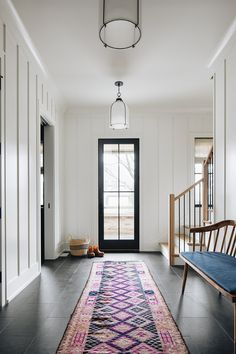 Sumac Project — KATE MARKER INTERIORS Modern Farmhouse Interiors, Farmhouse Design, Entry Furniture, Entry Hallway, Entryway, Vintage Bench, Foyer Design, Built In Bench, House Layouts
