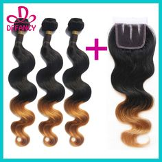 Cheap Hair Weft with Closure, Buy Directly from China Suppliers:		 Malaysian Ombre Hair 3PCS With 3Part Closure Virgin Malaysian 	Hair #1B#27 Two Tone Ombre Hair Extensions With C