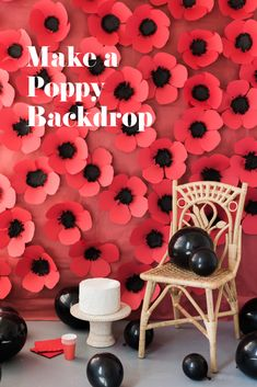 Dress up your events with this pretty DIY paper poppy backdrop. Dress up your events with this pretty DIY paper poppy backdrop. Dress up your events with this pretty DIY paper poppy backdrop. Diy Backdrop, Paper Flower Backdrop, Paper Flowers Diy, Diy Arts And Crafts, Kids Crafts, Paper Crafts, Paper Paper, Origami Paper, Decor Crafts