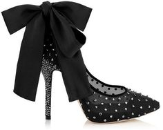 Jimmy Choo Tucan Black Mesh and Suede Pumps with Crystals and Satin Bow on shopstyle.com