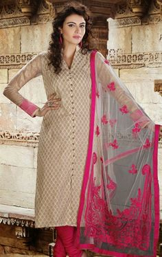 Beige Chanderi Cotton Silk Churidar Suit Add a young burst of shade to a wardrobe with this beige chanderi cotton silk churidar suit. The bead and chikan work appears chic and ideally suited for any get together. Indian Salwar Kameez, Churidar Suits, Salwar Kameez Online, Indian Designer Outfits, Indian Outfits, Latest Salwar Kameez Designs, Pakistan Fashion, Desi Clothes, Weird Fashion