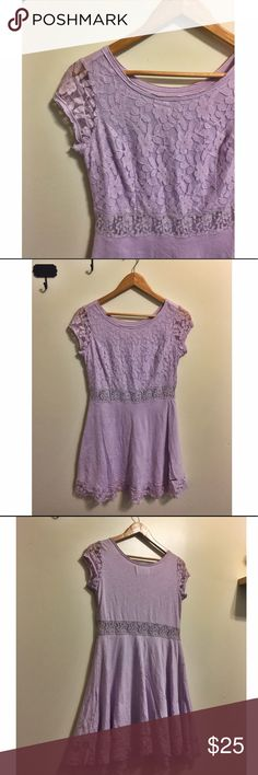 Abercrombie & Fitch Lace Skater Dress Exquisite floral purple Lace all on the front of the chest area of the dress. Empire waist with a lace peek a boo strip at the waist. Shows a little skin through the lace at the waist which adds a cute a sweet touch to the dress. Skater dress that is flowy and flattering . The sleeves are floral Lace and the bottom of the dress also has Lace peeking through. The dress is very well made . Lining underneath. Never worn. No damage or stains. Offers…