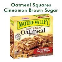 Nature Valley® Cinnamon Brown SugarSoft Baked Oatmeal Squares off 100% nature whole grain oats soft baked to perfection, so you can enjoy the softer side of morning. *12 g of whole grain per serving. at least 48g recommended daily. Our OtherOatmeal Products