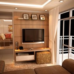 Stretching Interior Design Visually to Create Bright Rooms and Increase Home Values Home Living Room, Apartment Living, Living Room Designs, Living Spaces, Tv Area Decor, Small Apartments, Small Spaces, Plafond Design, Bright Rooms