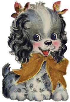 Vintage Digital Image Cute Puppy by on Etsy Vintage Cat, Vintage Images, Cute Dogs, Cute Puppies, Dog Background, Cute Dog Pictures, Gifs, Gif Animé, Vintage Greeting Cards