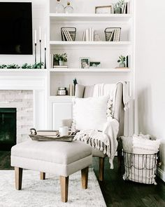Loving this all-white living room! To get a living area like brand ambassador, J… Loving this all-white living room! To get a living area like brand ambassador, Jenn Pregler, style with cozy pillows and greenery to add texture to your neutral decor! Living Room White, My Living Room, Home And Living, Living Spaces, Living Area, White Living Room Furniture, Living Room Shelf Decor, Cream Living Room Decor, Neutral Living Rooms