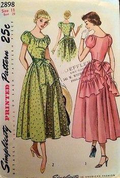 1940's Vintage Long Dress Ruffle Sash Back Bow Simplicity Sewing Pattern #2898