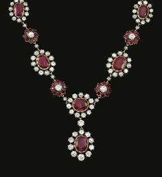 PROPERTY OF AN ITALIAN NOBLE FAMILY (Countess Granard): Ruby and diamond necklace. The necklace set with circular-cut, cushion-shaped and oval rubies, highlighted with circular-cut diamonds. Royal Jewelry, Ruby Jewelry, Diamond Jewelry, Jewelery, Fine Jewelry, Royal Crown Jewels, Jewellery Box, Ruby And Diamond Necklace, Emerald Necklace