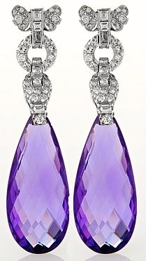 Platinum, Amethyst and Diamond Ear Pendants