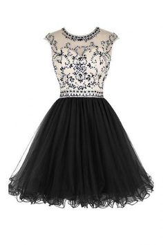 Short Beaded Tulle Homecoming Dress with Scoop Neckline