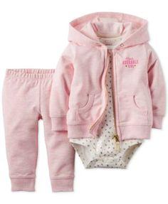Carter's Baby Girls' 3-Piece Adorable Cardigan, Bodysuit & Pants Set