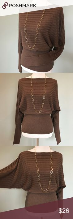 """🌿Brown Sweater Karamel Collection, body con sweater w/dolman sleeves and boat neck. Beautiful ribbed weave, form fitting lower arms, waist and hips. Extremely soft yarns and stretch in every direction. No size label. Worn only twice, I am a Med/Size10 and dress form shown is a 6/8. 10% spandex allows this sweater to fit these sizes great. 45%Viscose, 30% Polyester, 15% Acrylic, 10% Spandex.      •25.5"""" Length. KaramelCollection Sweaters Crew & Scoop Necks"""