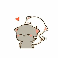Own que kawaii😂😍😂😄 Cute Kawaii Drawings, Kawaii Doodles, Cute Animal Drawings, Cute Couple Cartoon, Cute Love Cartoons, Cute Kawaii Animals, Kawaii Cat, Chibi Cat, Cute Chibi