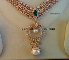 Jewellery Designs: Diamond Set with Chandbali Design Pendant