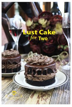 Cake for Two A sensual cake, it's filled & topped with lip-smacking chocolate cream & drizzled seductively with chocolate ganache.A sensual cake, it's filled & topped with lip-smacking chocolate cream & drizzled seductively with chocolate ganache. Mini Desserts, Small Desserts, Just Desserts, Delicious Desserts, Dessert Recipes, Plated Desserts, Mini Chocolate Desserts, Easter Desserts, Dishes Recipes