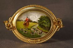 14K Yellow Gold Reverse Miniature Painting Brooch, $4,900.00