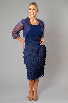 Living Silk - specializing in navy dresses and two piece outfits with sleeves for the modern and elegant mother of the bride and mother of the groom at a beach, boho, garden, country, cocktail or formal wedding in Spring/ Summer or Fall/ Winter Bride And Groom Gifts, Bride Groom Dress, Groom Outfit, Bride Dresses, Mother Of The Groom Looks, Mother Of The Bride, Mother Of Groom Dresses, Mom Dress, Two Piece Outfit