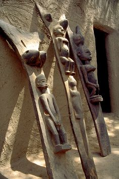 Antique wooden figural Dogon house posts, Mali