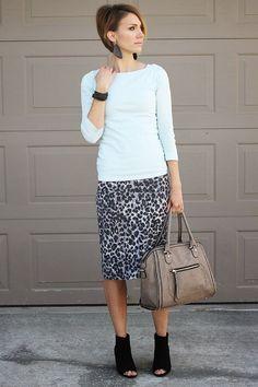 Mint tee, gray leopard pencil skirt and peep toe booties