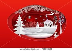 Christmas paper art. Red tone vector illustration. Ellipse paper cut layers with winter forest. White snow nature with house, christmas tree, trees, hare, star, bulfinch's and snowman. Holidays banner