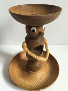 Teak-Holz-Figur-Sombrero-Party-Maennchen-fuer-Chips-Vintage-60s-wooden-party-tray