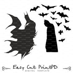 Batman Superhero Silhouettes svg eps dxf ai jpg by EasyCutPrintPD